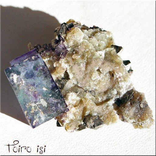 画像1: ブルーパープル フローライト パイライト 共生 原石